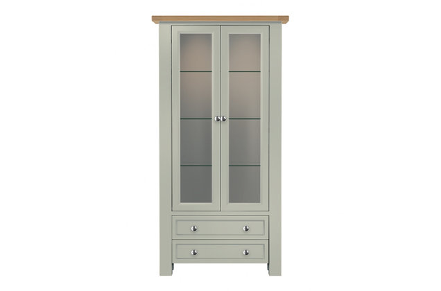 Bretagne 2 Door Display Cabinet – Rockford Grey with Lacquered Top