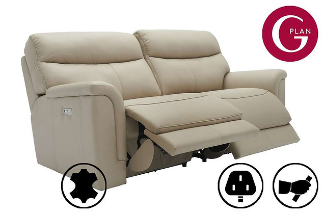 G Plan Harrison Leather 3 Seater Recliner Sofa (2 Cushion)