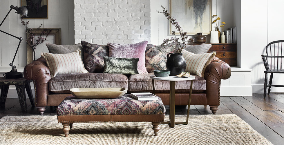 Inca GrandSofa in a Stunning Fabric and Leather Combination