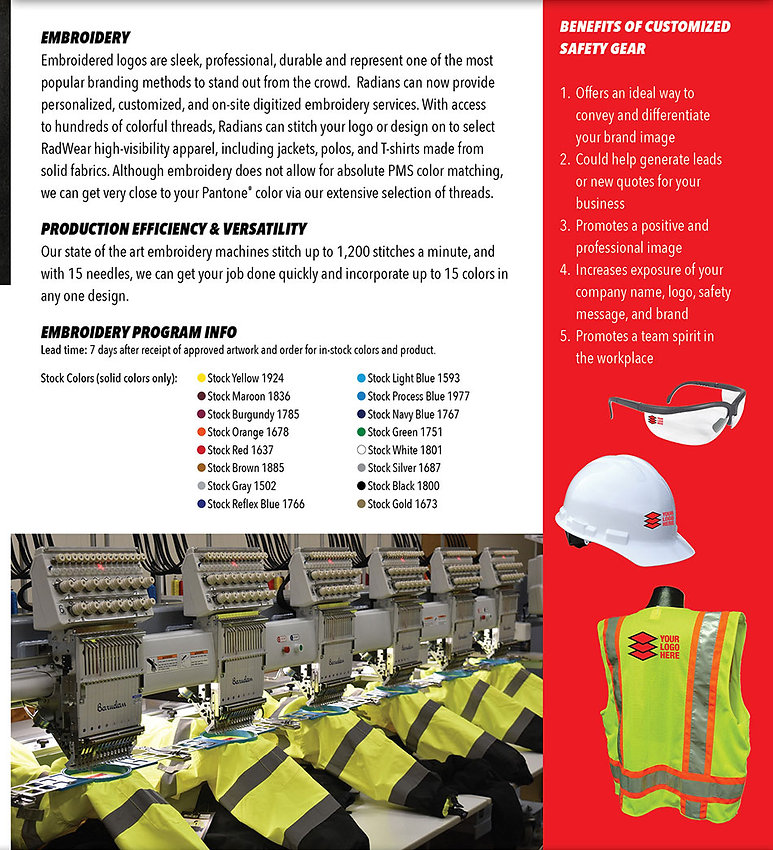 Make your safety gear do double duty for you by choosing custom imprinted program to satisfy a variety of banding, prootional, and advertising needs.