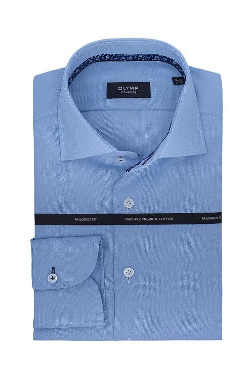 РубашкаSignature нежно-василькового оттенка с контрастной петелькой