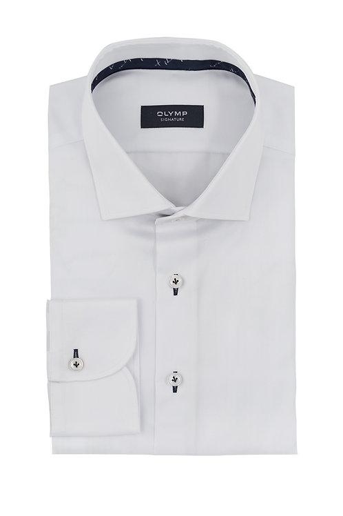 Рубашка Olymp Signature Premium белая с контрастными петельками