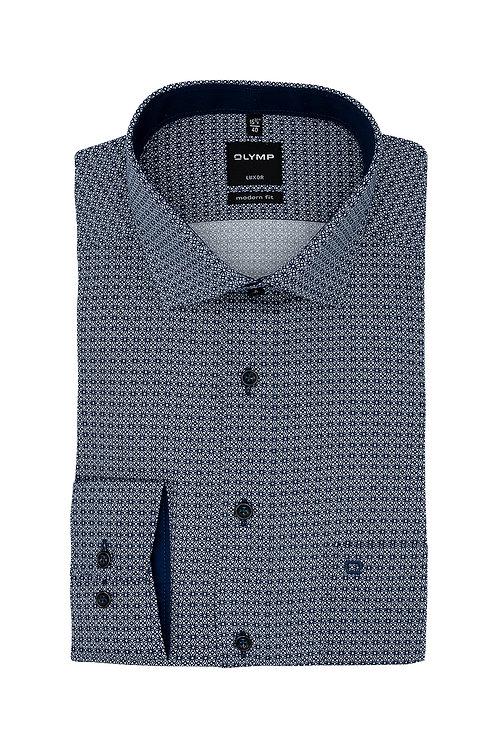 Рубашка Olymp Luxor глубокого синего цвета с коллекционным дизайном.