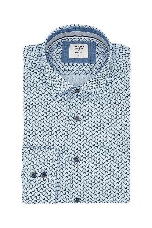 Рубашка Olymp Level Five Casual c микро-принтом в голубом цвете.