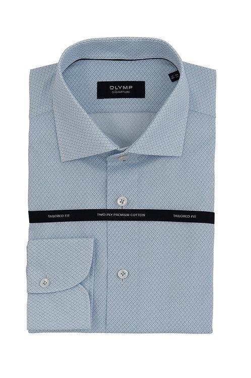 Мужская рубашка Olymp Signature голубого цвета с микродизайном.