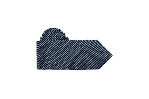 Галстук Olymp синего цвета с голубым геометрическим узором.