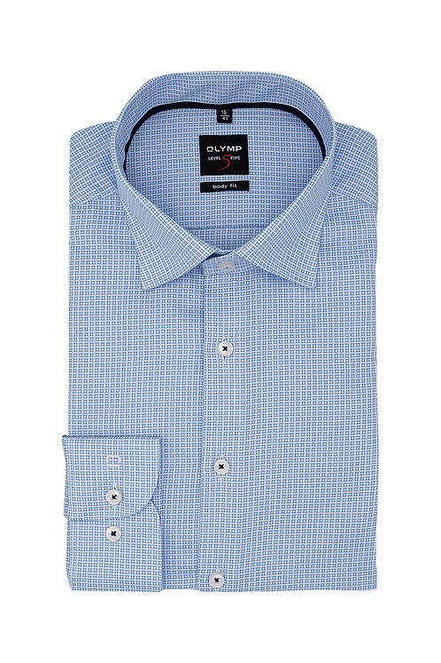 Рубашка Olymp Level Five голубая с шелковистой коллекционной выделкой.