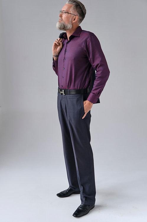 Рубашка Olymp Signature винного оттенка с вплетением синей нити.