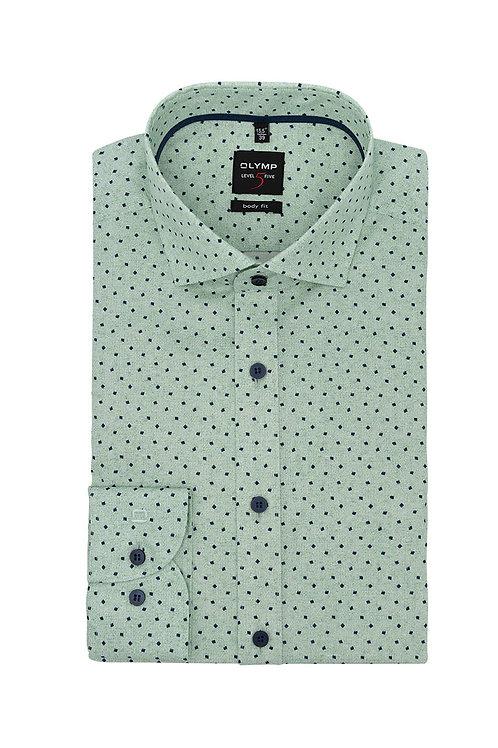 Рубашка Olymp Level Five нежно-зеленого оттенка с дизайнерским принтом.