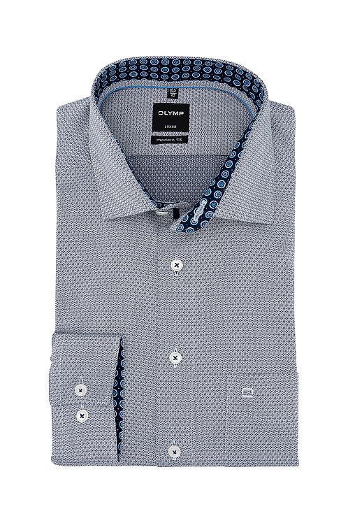 Рубашка Olymp Luxor с серо-синим отливом с фигурной выделкой.