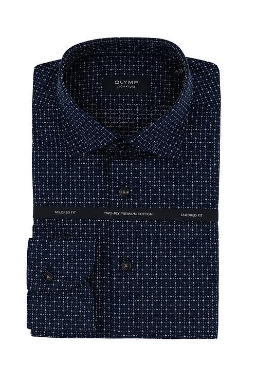 Мужская рубашка Olymp Signature глубокого синего цвета с микродизайном.