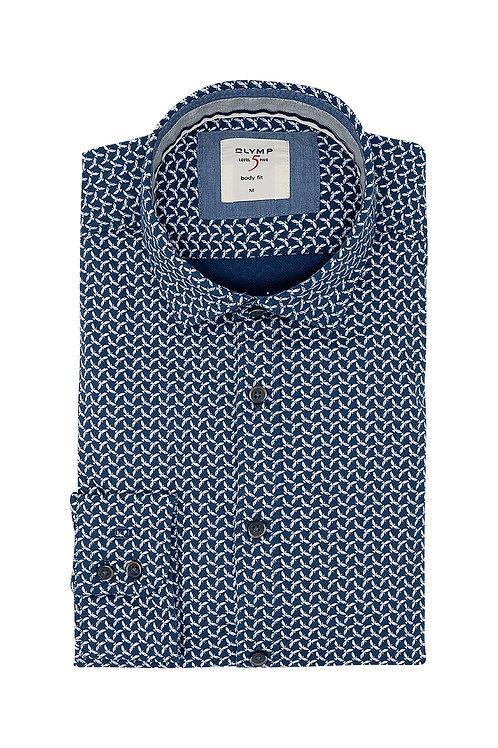 Рубашка Olymp Level Five Casual в тёмно-синем цвете с микро-принтом.