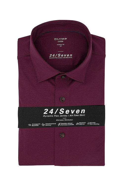 Рубашка Olymp Luxor 24/Seven насыщенного ягодного оттенка (Jersey).