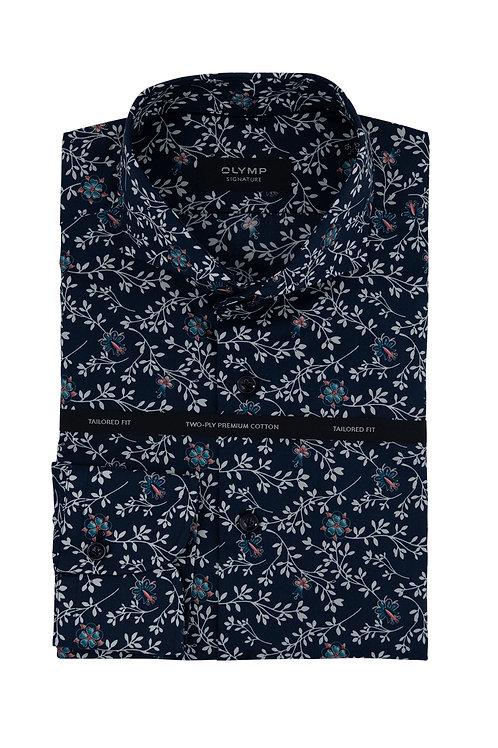 Мужская рубашка Olymp Signature темно-синего цвета с принтом.