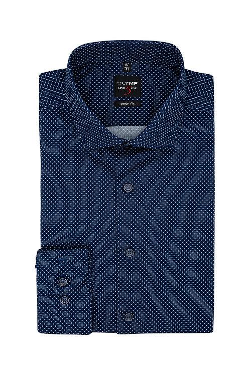 Рубашка Olymp Level Five тёмно-синяя с микродизайном.