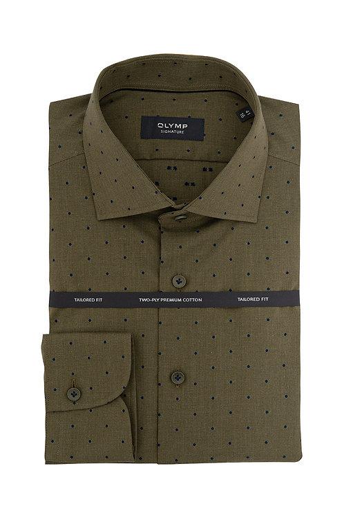 Мужская рубашка Olymp Signature Premium горчичного цвета с дизайном.