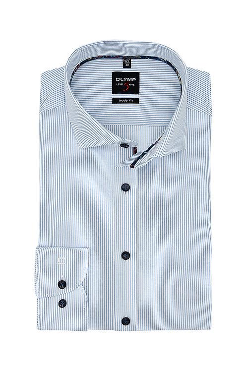Рубашка Olymp Level Five в дизайнерскую полоску с еле заметной выделкой.