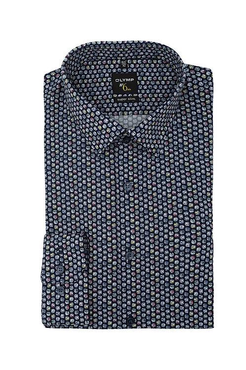 Рубашка Olymp №6 тёмно-синяя с дизайном.