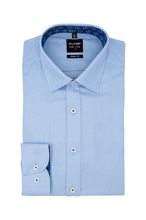 Рубашка Olymp Level Five голубая с выделкой.