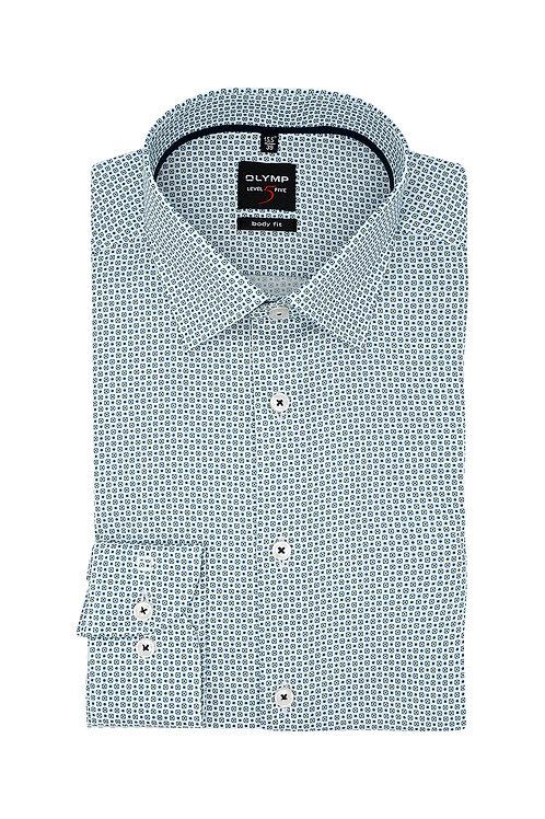 Рубашка Olymp Level Five с изумрудным отливом с микродизайном.