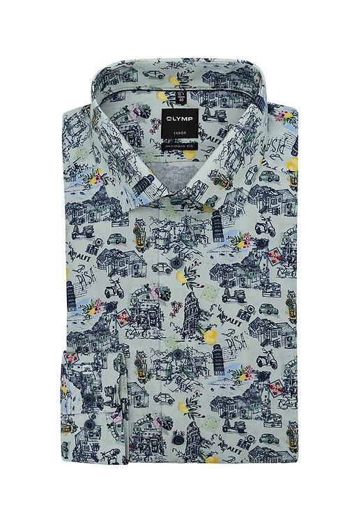 Рубашка Olymp Luxor с дизайнерским принтом.