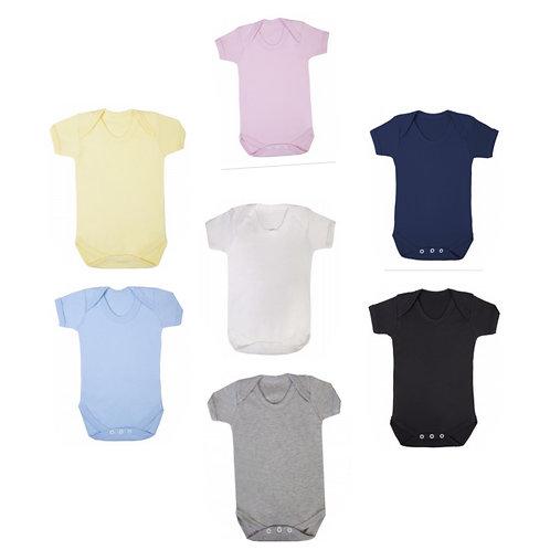 Choose design/font - Short sleeved baby vests