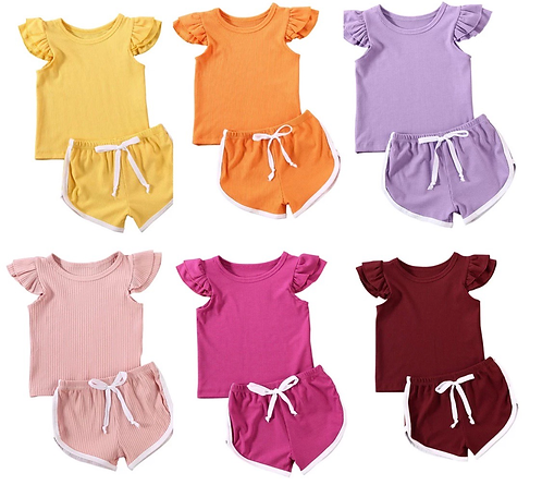 Girls Ribbed Embroidered Sets