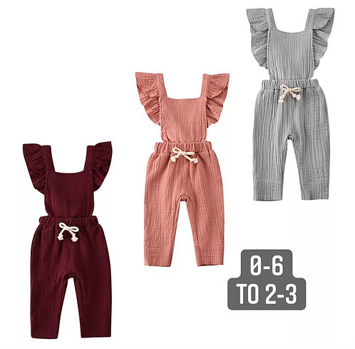 Linen embroidered frill jumpsuit