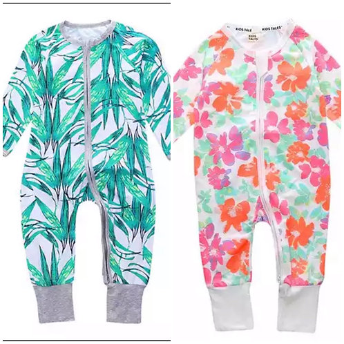 Patterned baby footless sleepsuit