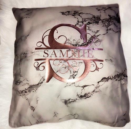 Split initial name pillow case