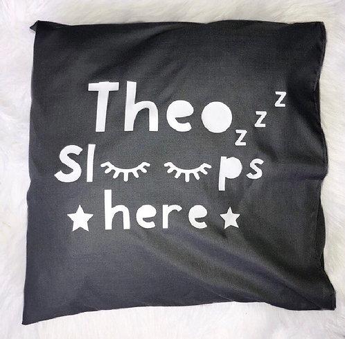 Boy sleeps here pillow case