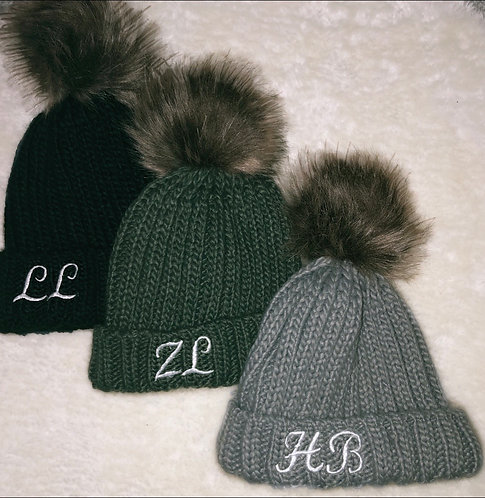 embroidered knitted bobble hats