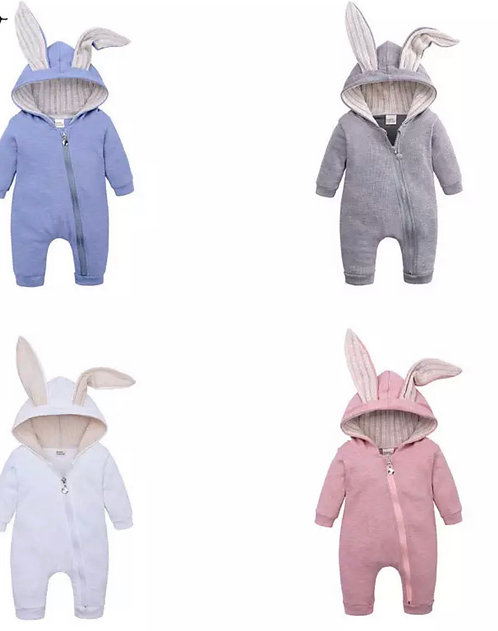 Embroidered Zip Bunny Onesie