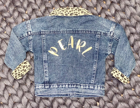 Leopard trim denim jacket