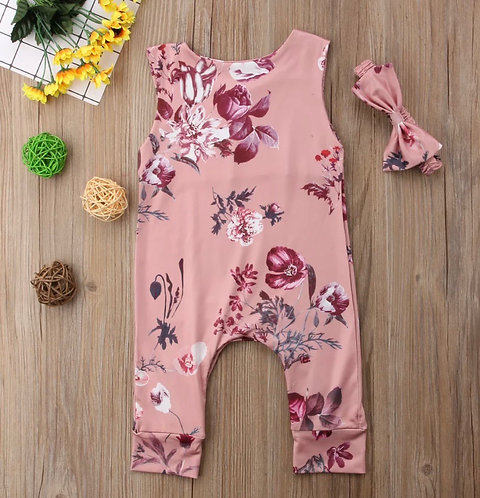Floral Girls Romper & Bow
