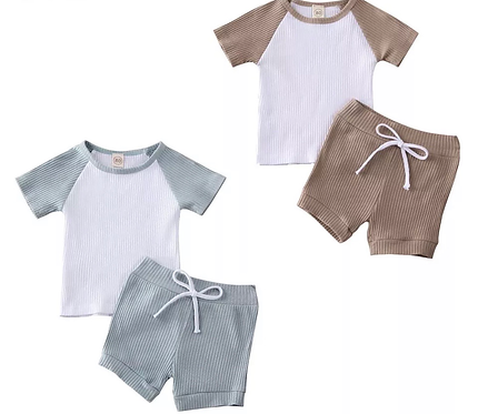Ribbed Embroidered Shorts Sets
