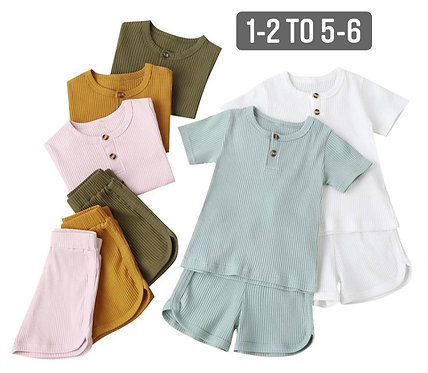 Ribbed button up short set