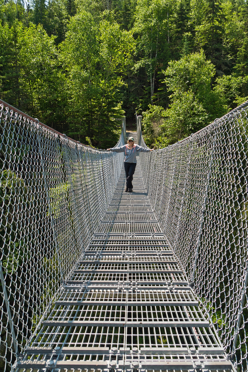 Leah, hanging out on the suspension bridge.