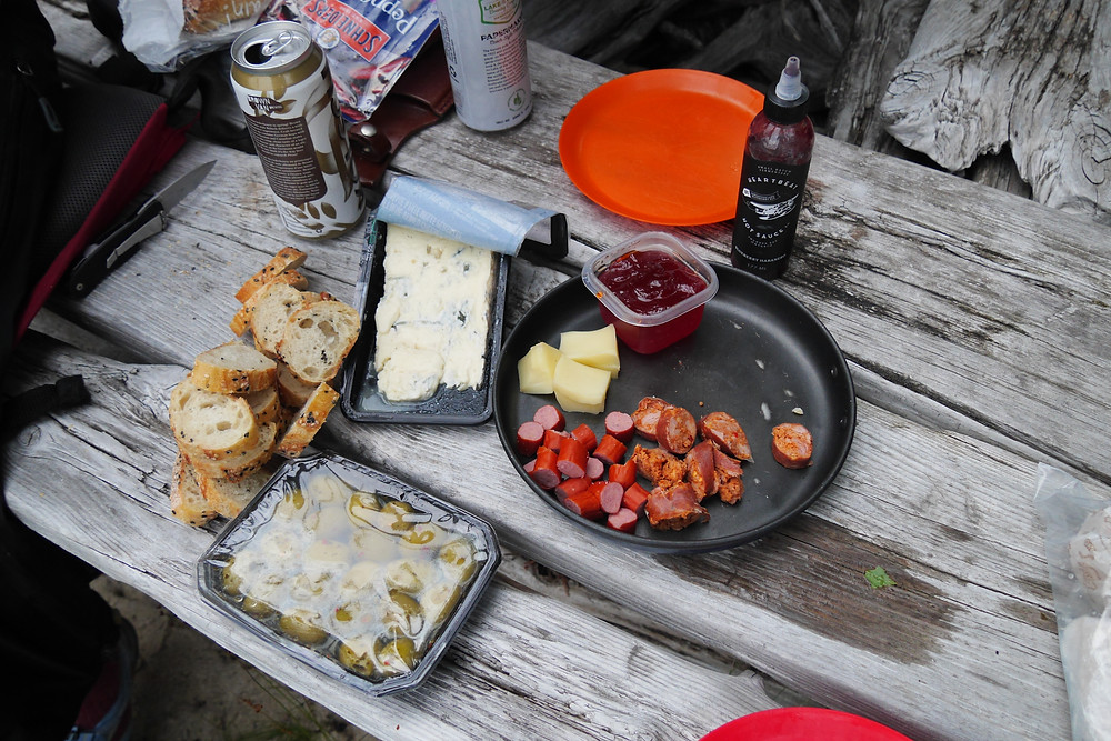Backcountry charcuterie spread. We certainly eat well on our trips!