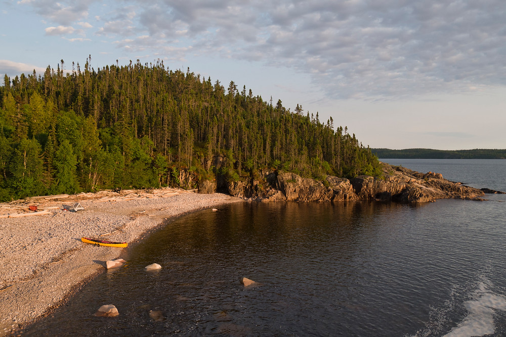View of the campsite from atop the falls. Lake Superior's Otter Island in the background.