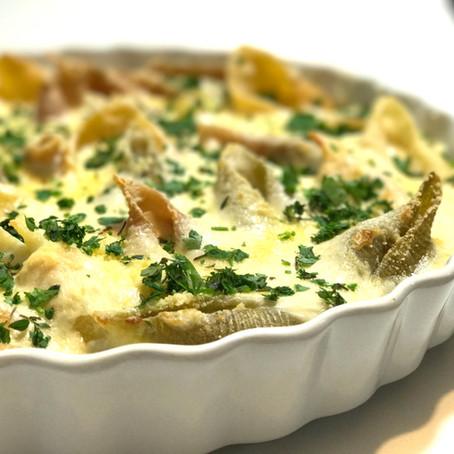 Na Cozinha com o Chef: aprenda a fazer Conchiglioni recheada com filé ao molho de gorgonzola cremoso