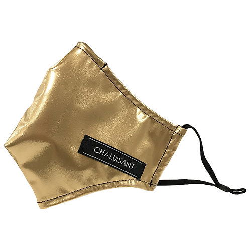 CHALUISANT GOLD FAUX LEATHER FACE MASK