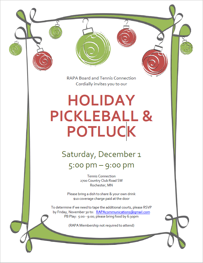 Saturday December 1st, 5-9pm at the Tennis Connection!