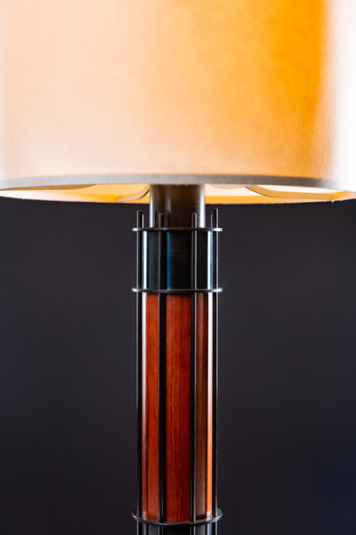 Turned wood and blackened steel with washi paper shade.
