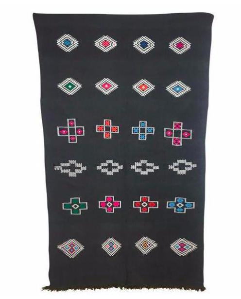 Moroccan Motif Rug -- Charcoal