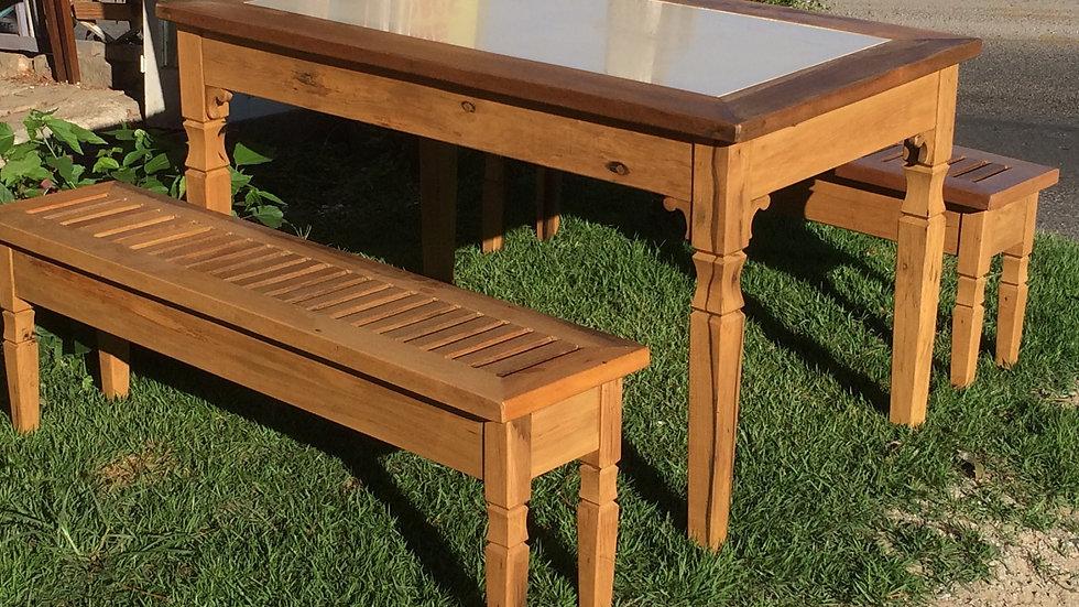 Conjunto de Mesa com Bancos - 160x80cm