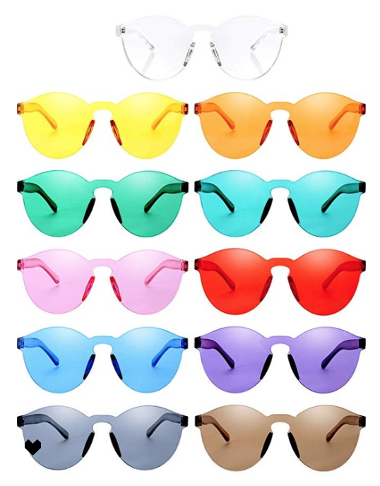 Round Rimless Sunglasses Tinted Eyewear Transparent Candy Color Sunglasses