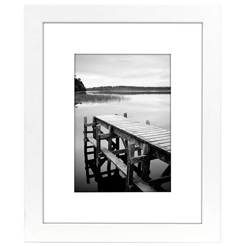 8x10 White Picture Frame - Matted to Display Photographs 5x7 or 8x10 Without Mat Materials
