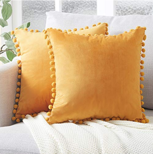 Decorative Throw Pillow Covers with Pom Poms Soft Particles Velvet Solid Cushion Covers