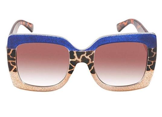Square Oversized designer sunglasses for men women multi glitter tinted frame